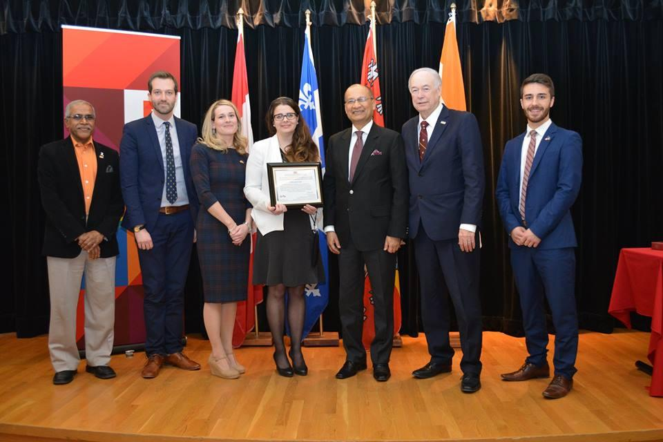 Shastri Institute grant presented to Laval University student delegation visiting India in May 2016