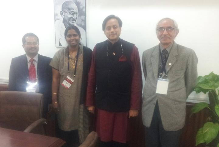 Prof. Shanthi Johnson, President, Prof. Biju Paul Abraham, Vice-President/ President-elect and Prof. Braj Sinha, Past President with the Hon'ble Minister of State for Human Resource Development, Dr. Shashi Tharoor  on Nov 13, 2013.