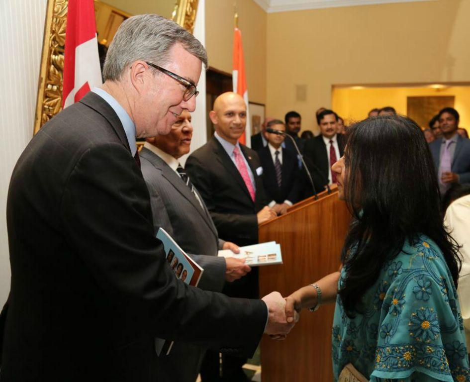 "Dr. Prachi Kaul , Director SICI ,  receiving the copy of ""A list 2016 ""from The Mayor of  Ottawa, Jim Watson and Mr.  Ajit Jain in the presence of His Excellency Nadir Patel, Canadian High Commissioner."