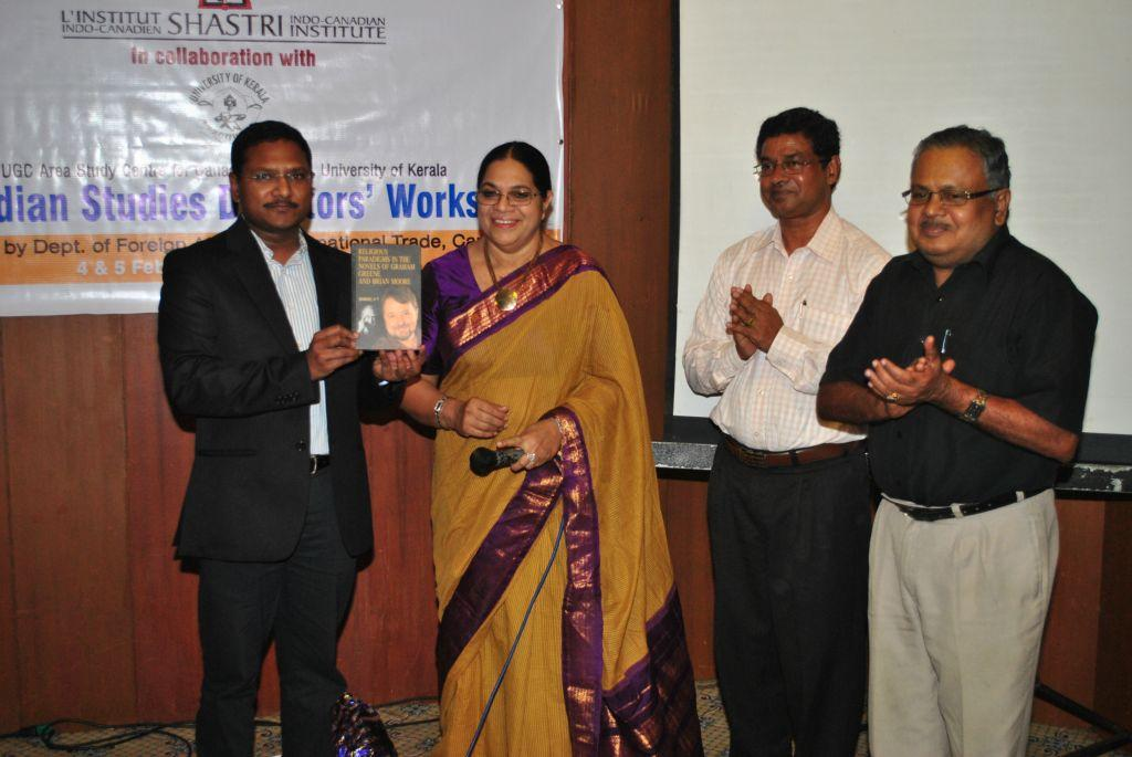Book Release Function (Standing from Left: Mr. Bernard Francis, Prof. Jameela Begum, Dr. V.T. Samuel, Prof. Gopakumar)