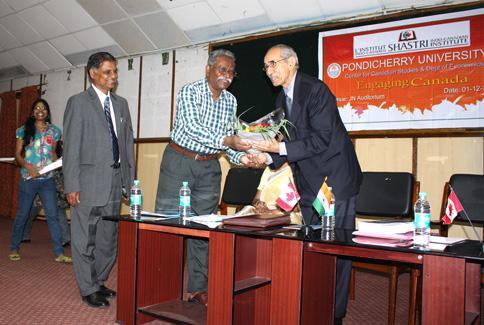 Dr. Braj Sinha is being welcomed by Prof. D. Sambandhan