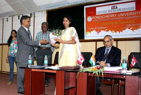 Ms. Subha Sundarajan, Trade Commissioner, Consulate of Canada, Chennai welcomed by Prof. T.S. Naidu